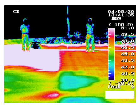 Volunteers in thermographic image