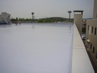 遮熱塗料ミラクール施工実績2008 岡山県 放送局コンクリート屋根(ウレタン塗布防水)U600アクアグレー施工