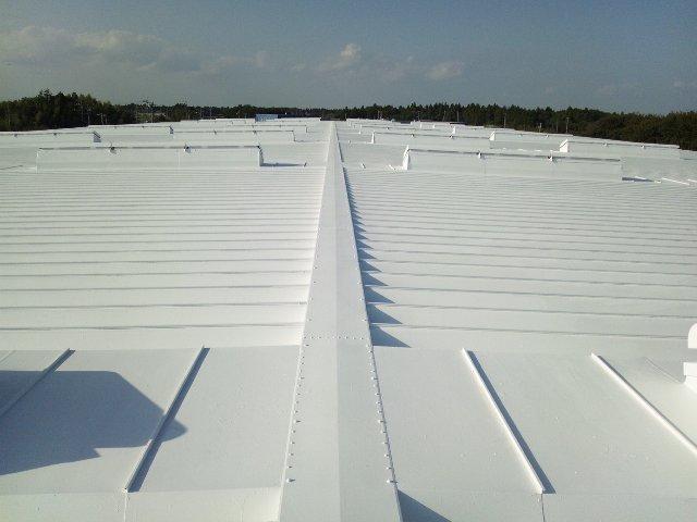 遮熱塗料ミラクール施工実績2013 千葉県 工場屋根S100クールホワイト