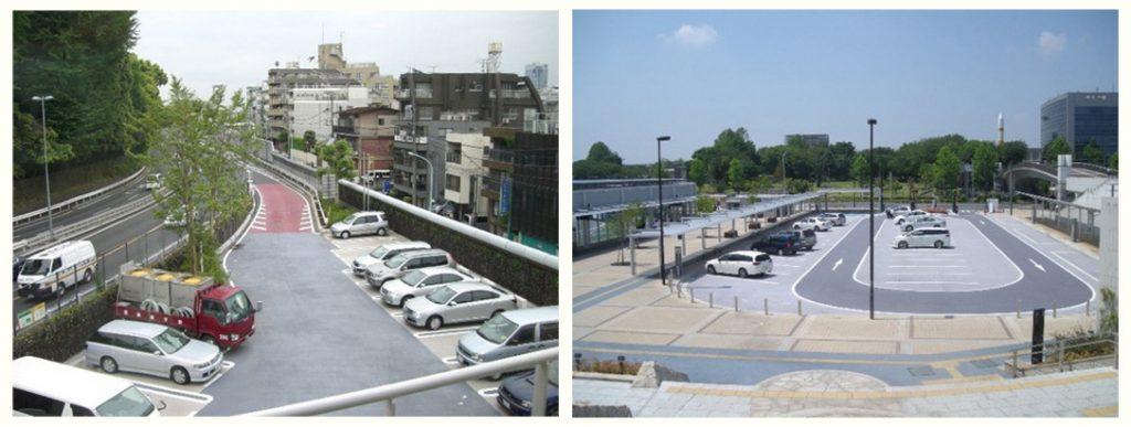 遮熱性舗装が使われている例 駐車場