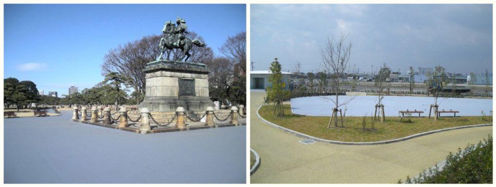 遮熱性舗装が使われている例公園 遊歩道